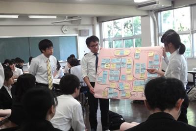 授業・実習風景 KJ法を用いて意見の集約と整理をしています